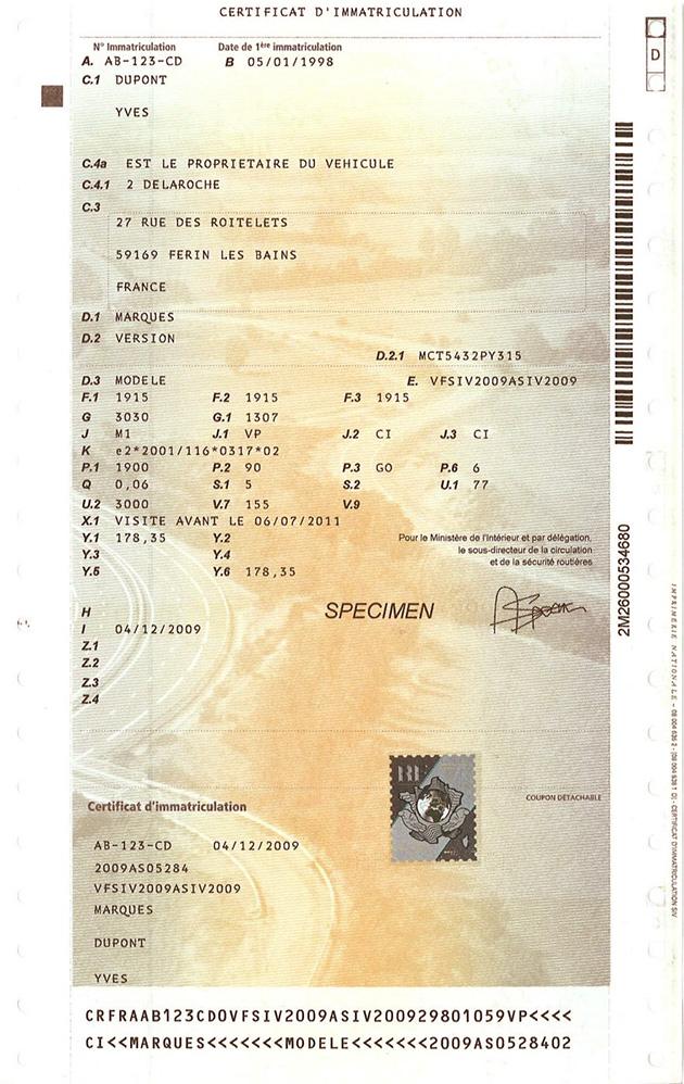 francuski dowód rejestracyjny