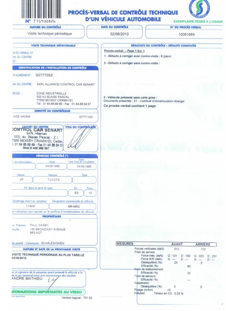 certyfikat kontroli technicznej